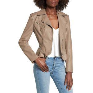 NWT Blank NYC Tan Faux Leather Moto Jacket Medium
